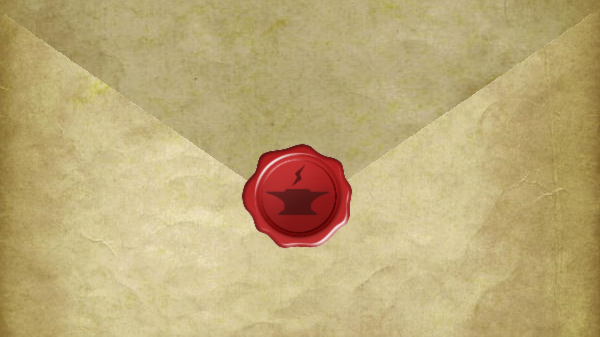 An envelope with a wax seal.